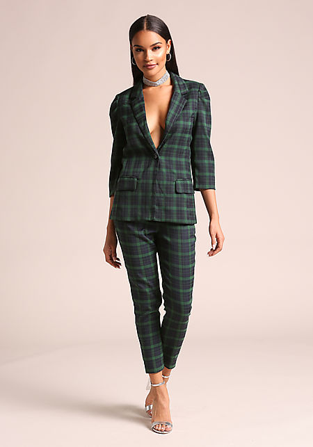 Green Plaid Straight Leg Pants