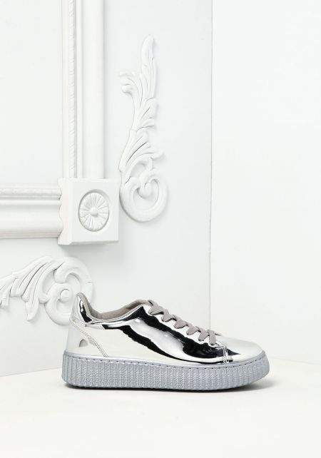 Silver Chrome Platform Sneakers