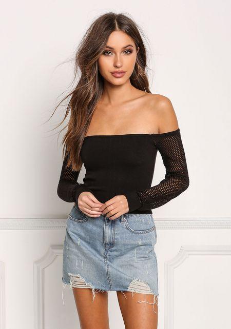 Black Net Sleeve Off Shoulder Crop Top