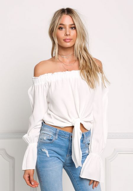 White Gauze Ruched Off Shoulder Tie Front Blouse