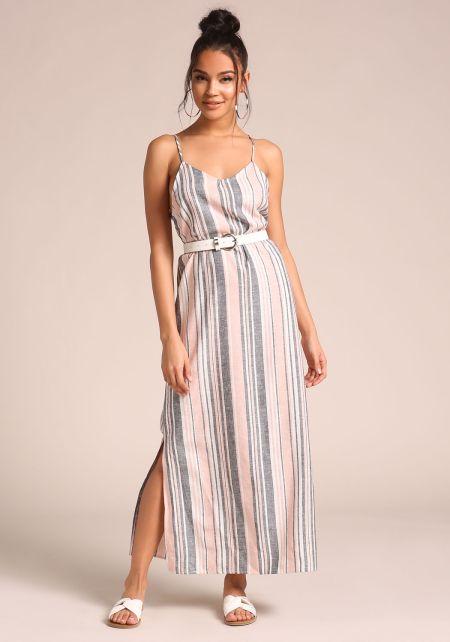 Multi Linen Pinstripe Slit Maxi Dress
