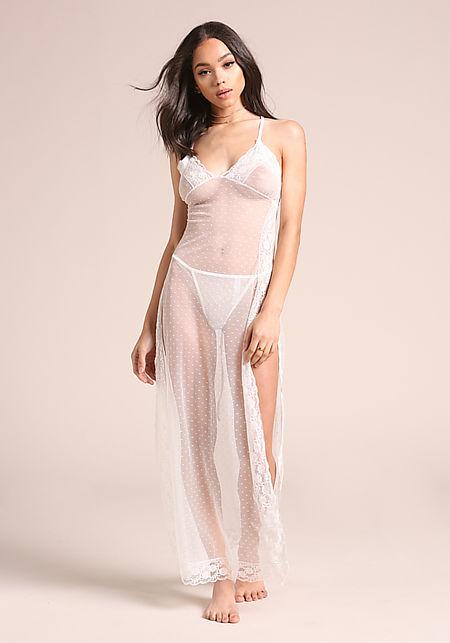 White Sheer Slip On Dress Lingerie Set