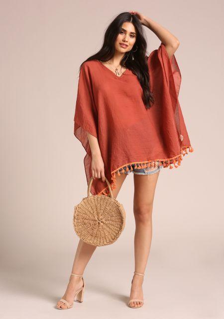 Rust Poncho Crochet Tassel Blouse