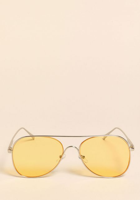 Yellow and Silver Aviator Sunglasses