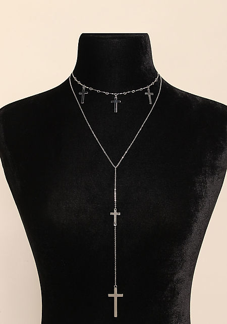 Silver Cross Delicate Drop Necklace