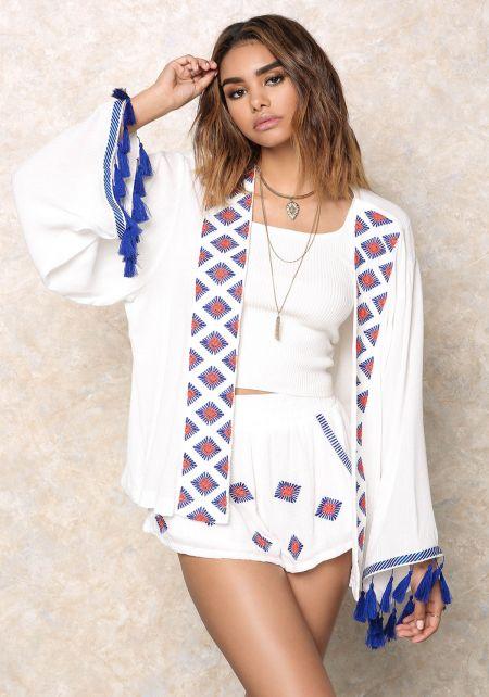 Off White Crepe Diamond Tassel Kimono