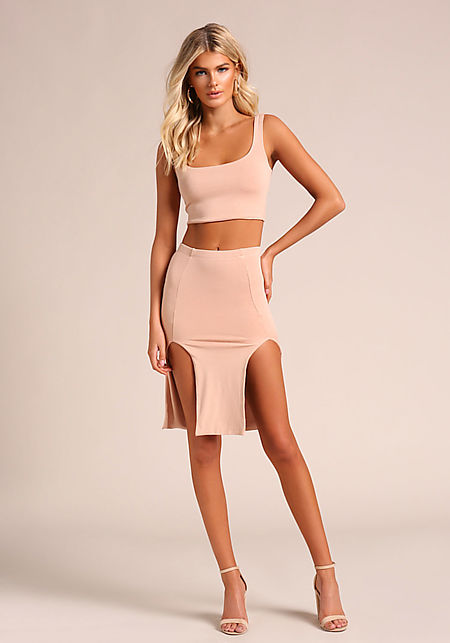 5cd08c6ed033 Natural Two Slit High Rise Skirt ...