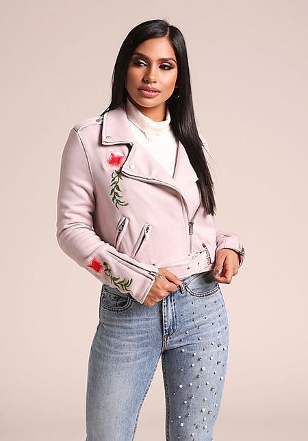 Lavender Suedette Floral Embroidered Moto Jacket