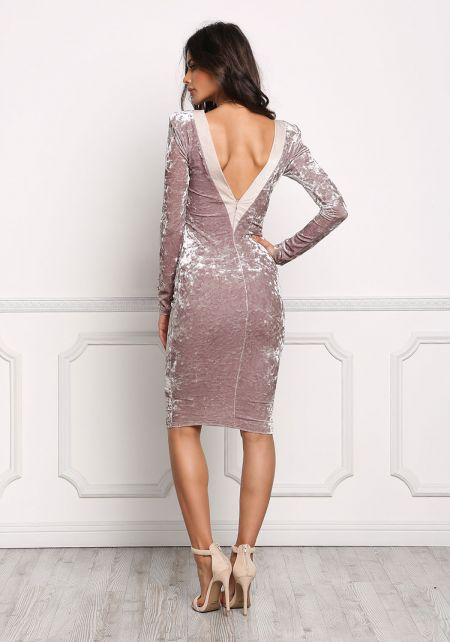 Taupe V Back Crushed Velvet Bodycon Dress
