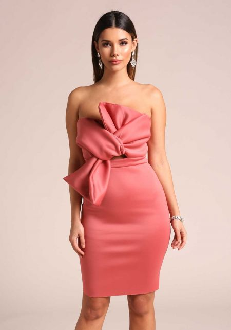 Mauve Bow Scuba Knit Bodycon Dress