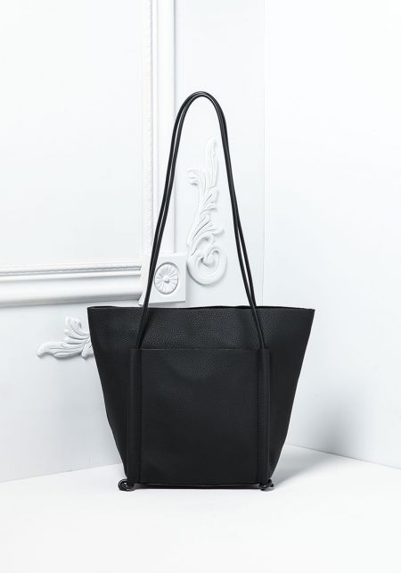 Black Leatherette Tote Bag with Pouch