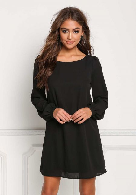 Black Chiffon Long Sleeve Shift Dress