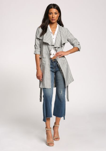 Black Pinstripe Pocket Waist Tie Duster Jacket