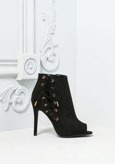 Black Suedette Side Lace Up Booties