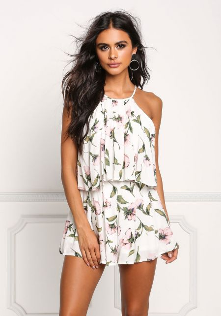 White Floral Layered Pleated Romper