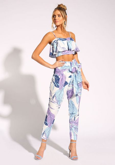 Blue Leaf Print Tie Front Pants