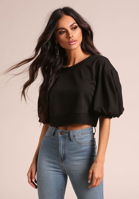 Black Puff Sleeve Crop Top