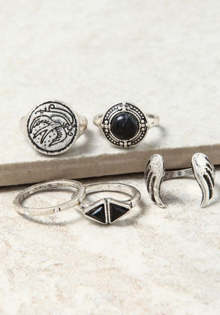 Silver Textured Assorted Rings Set