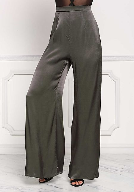 Dark Olive Silky Side Slit Slacks