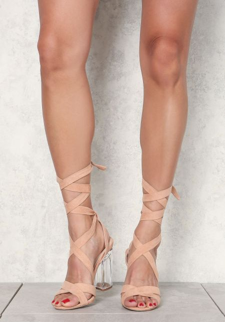 Blush Suedette Lace Up Clear Heels