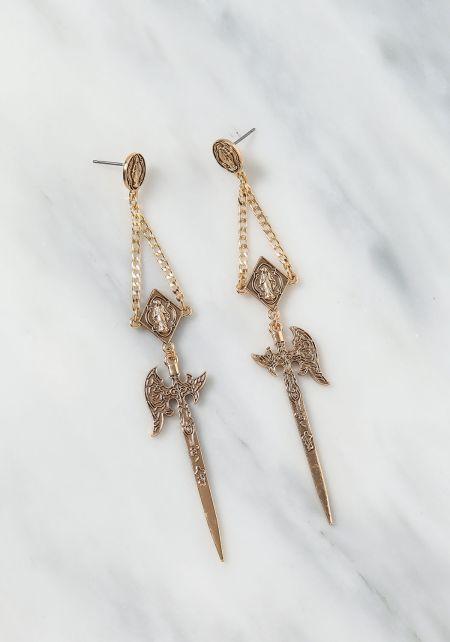 Gold Sword Dangle Earrings