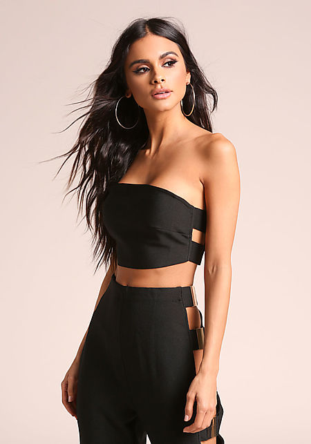 Black Bandage Cropped Tube Top