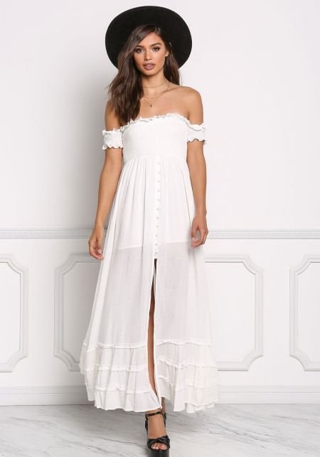 White Gauze Off Shoulder Smocking Slit Maxi Dress
