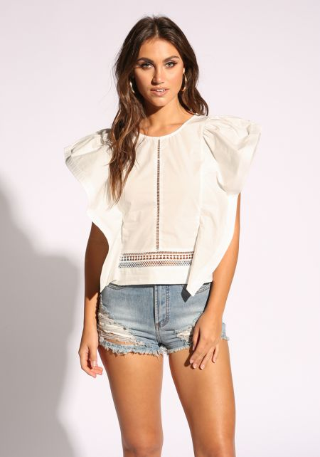 White Voluminous Sleeve Embroidered Blouse