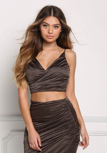 Olive Faux Wrap Ruched Crop Top