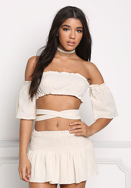 Natural Crepe Off Shoulder Tie Back Crop Top