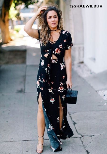 Navy Floral Crepe Tie Front Slit Maxi Dress