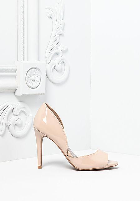 Nude Patent Leatherette Open Toe Heels