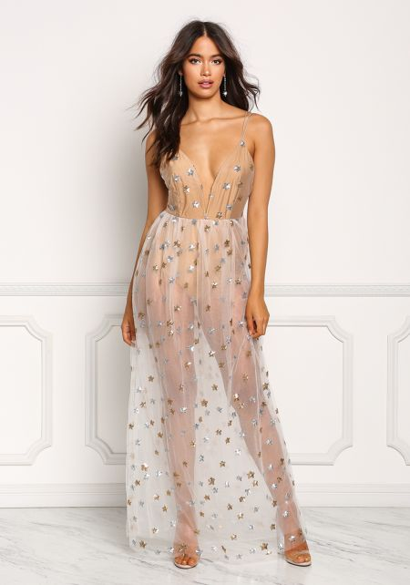 Nude Tulle Star Sequin Plunge Maxi Dress