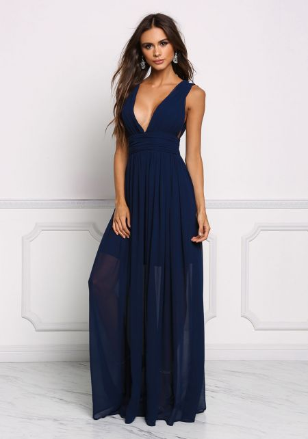 Navy Chiffon Plunge V Maxi Gown