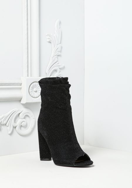 Black Sparkle Peep Toe Booties