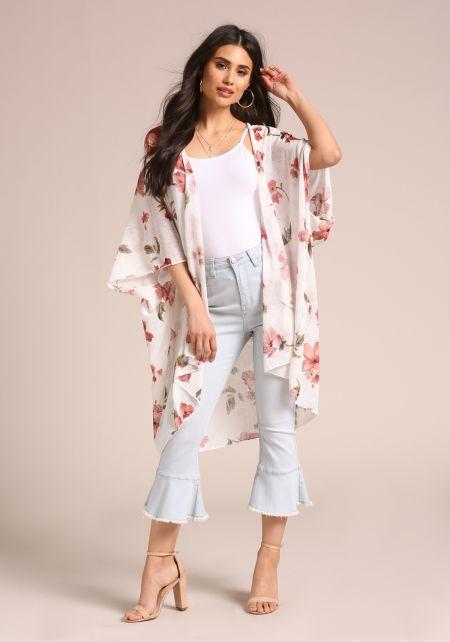 White Floral Longlined Kimono