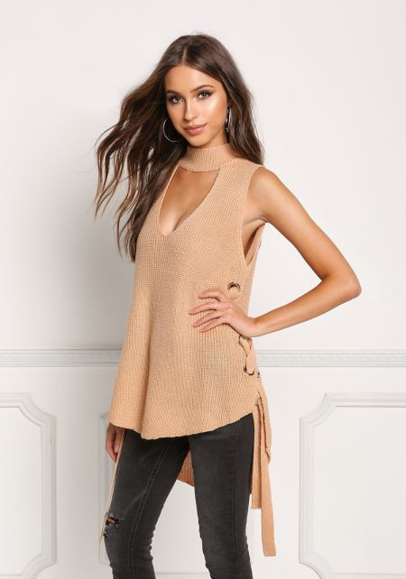 Tan Sweater Knit Side Lace Up Cut Out Top