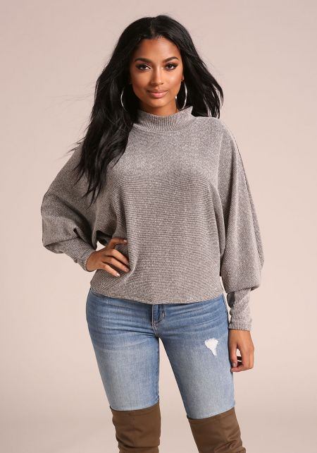 Olive Marled Ribbed Knit Dolman Sweater Top