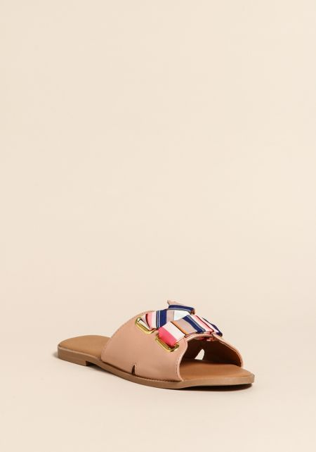 Blush Leatherette Cross Strap Slip On Sandals