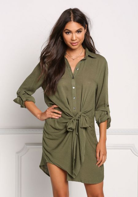 Olive Button Up Front Tie Shift Dress