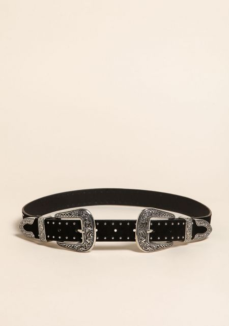 Black and Silver Studded Double Buckle Suedette Be