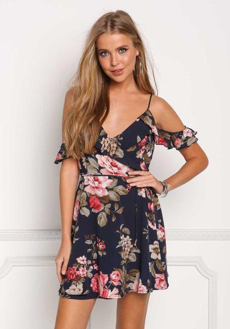 Navy Floral Cold Shoulder Wrap Dress