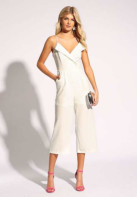 White Folded Lapel Pleated Jumpsuit