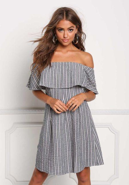 Blue Layered Off Shoulder Pinstripe Shift Dress