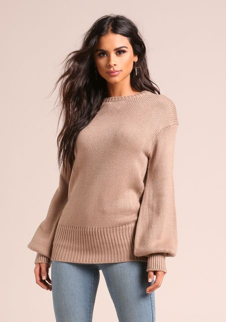 Taupe Low Tied Back Puff Sleeve Sweater Top