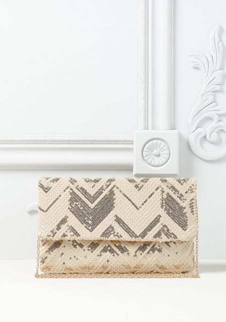 Gold Chevron Sequin Clutch