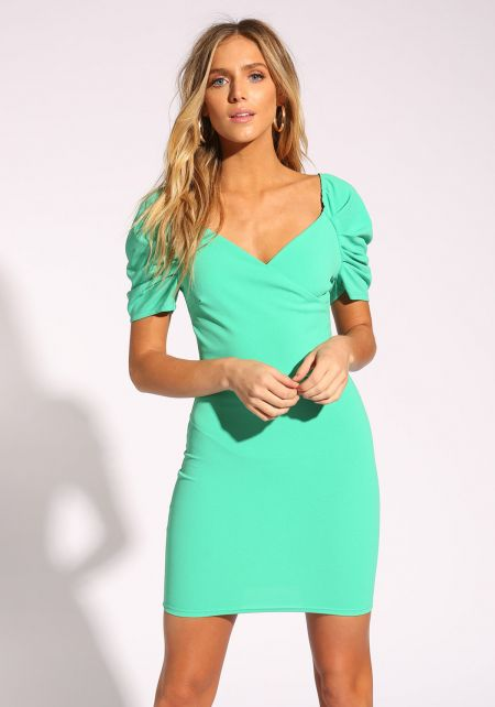 Green Puff Sleeve Bodycon Dress