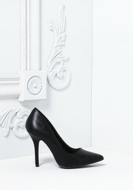 Black Classic Leatherette Pointed Toe Heels