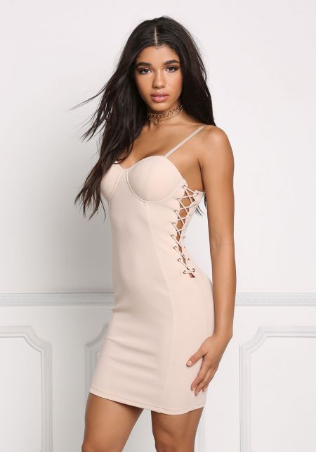 Nude Side Lace Up Bustier Bodycon Dress