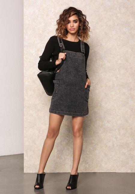 x - Black Acid Denim Overall Dress